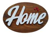 targa ovale in legno con scritta home in risalto cm 37 per  cm 25