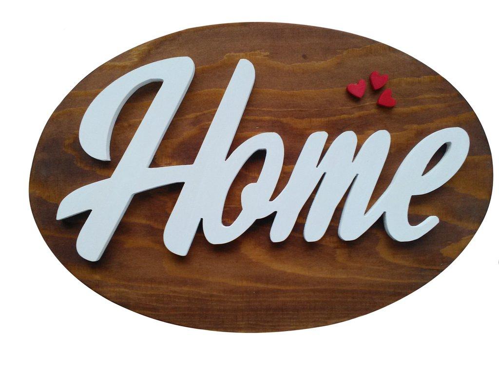 Targa ovale in legno con scritta home in risalto cm 37 per for Scritta home in legno