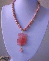 Collana con perline di Rhodonite e ciondolo di Quarzo cherry, fatta a mano, 43 cm