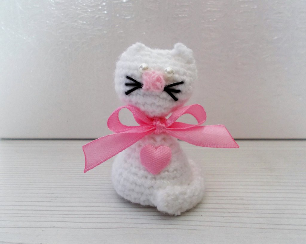 Bomboniera nascita, Battesimo, comunione gattino amigurumi bimba.