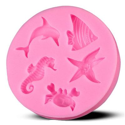 """Stampo in silicone """"Tema marino"""" (5,6x0,9 cm)"""