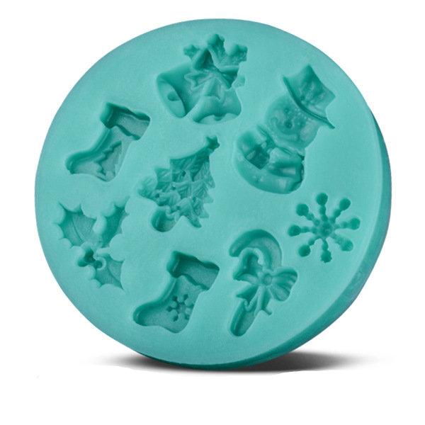 """Stampo in silicone """"Tema natalizio"""" (6.9x6.9x0.9 cm)"""