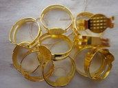 10 basi per anelli regolabili color oro  diametro disco non forato 8 mm. anello 18x17 mm.