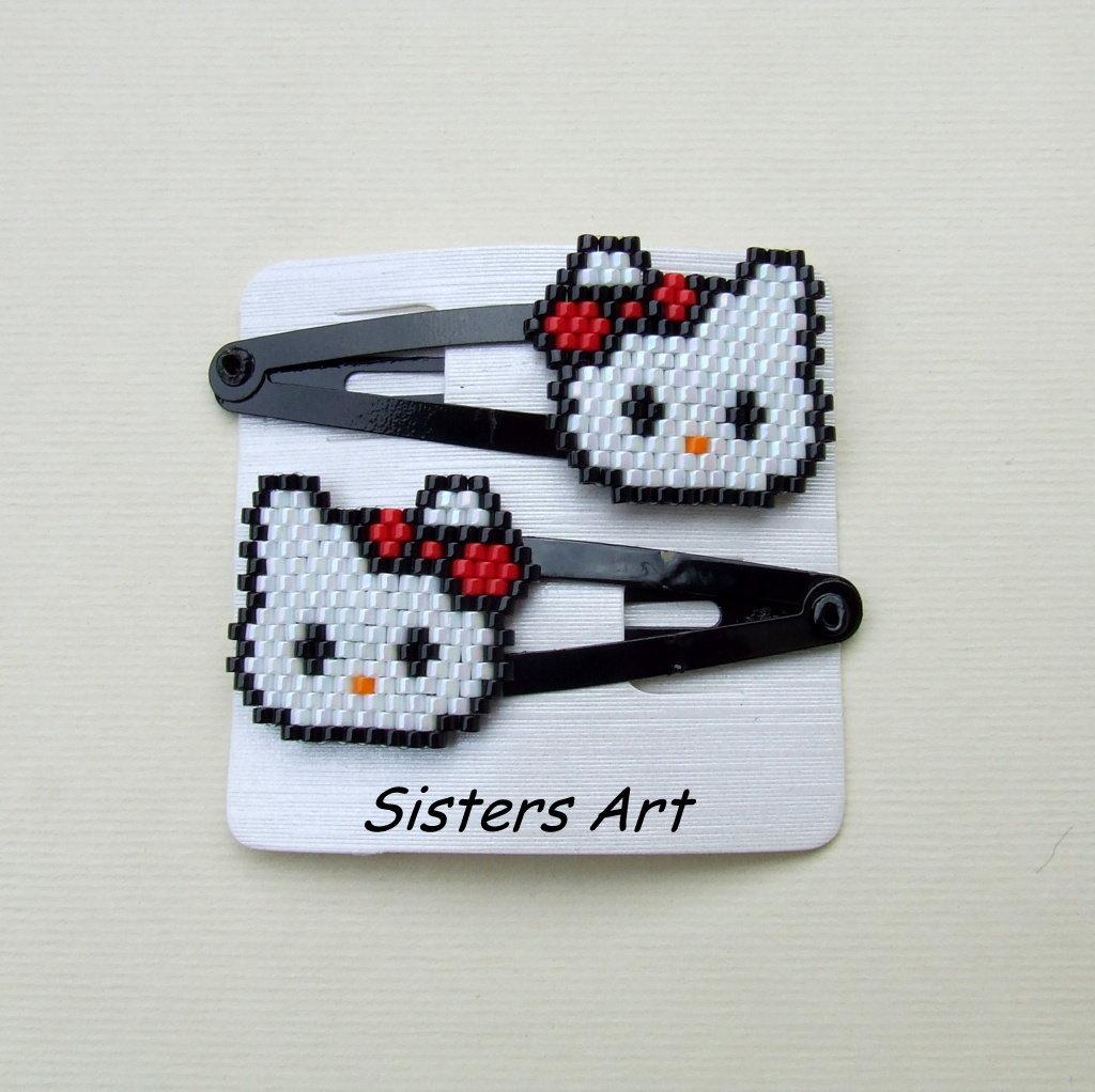 """Mollette per capelli """"Hello Kitty"""" realizzati con perline Miyuki delica"""