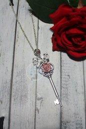 collana chiave con rosa