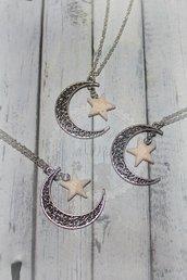 Collana lunga con luna e stella