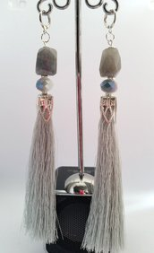 Orecchini Dangle Earring gray and Silver