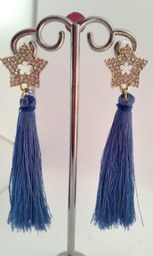 Orecchini Dangle Earring blue and gold with star