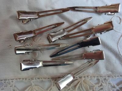 10 fermagli per capelli color argento 4,5 cm.