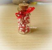Ciondolo di Natale bottiglietta con candy cane e campanellino in fimo addobbi Natale regalo