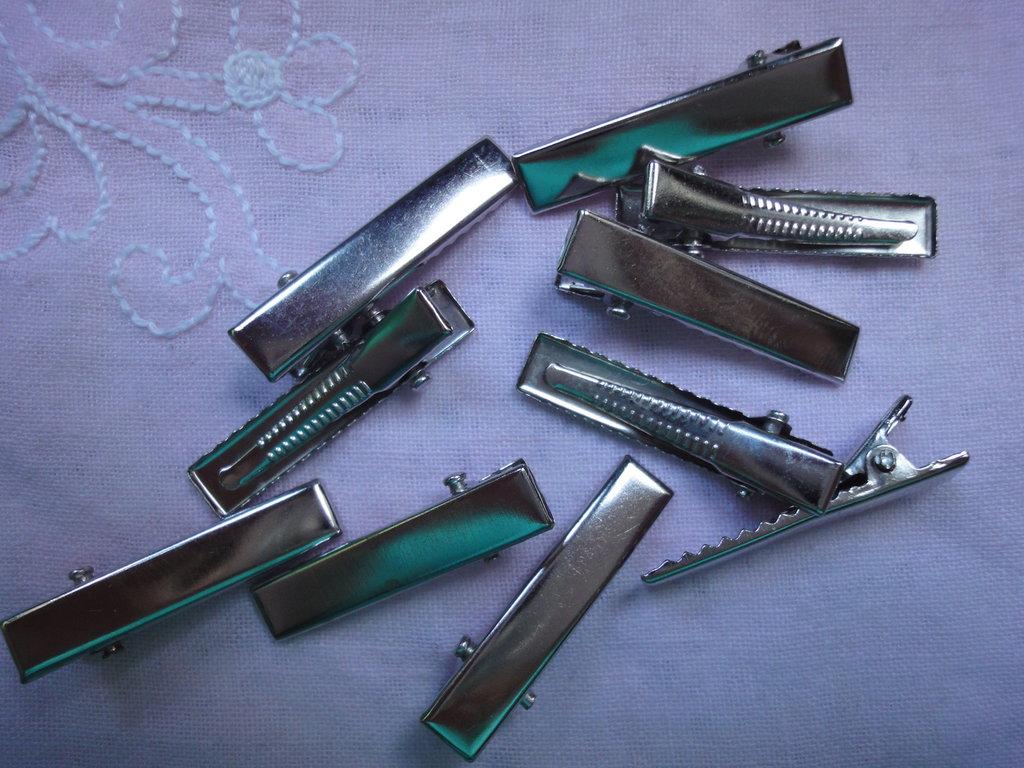 10 fermagli per capelli color argento 3,2 cm.