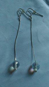 Orecchini in argento con  swarovski tondi sfaccettati crystal ab