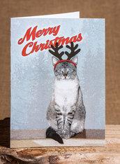 BIGLIETTI DI NATALE - gatto con corna da renna sfondo ghiaccio - biglietti stampati - Natale