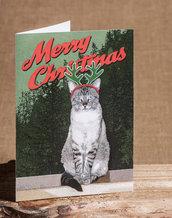 BIGLIETTI DI NATALE - gatto con corna da renna sfondo foresta - biglietti stampati - Natale