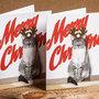 BIGLIETTI DI NATALE - gatto con corna da renna sfondo Merry Christmas - biglietti stampati - Natale