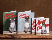 4 BIGLIETTI DI NATALE - gatto con corna da renna - biglietti stampati - Natale - auguri