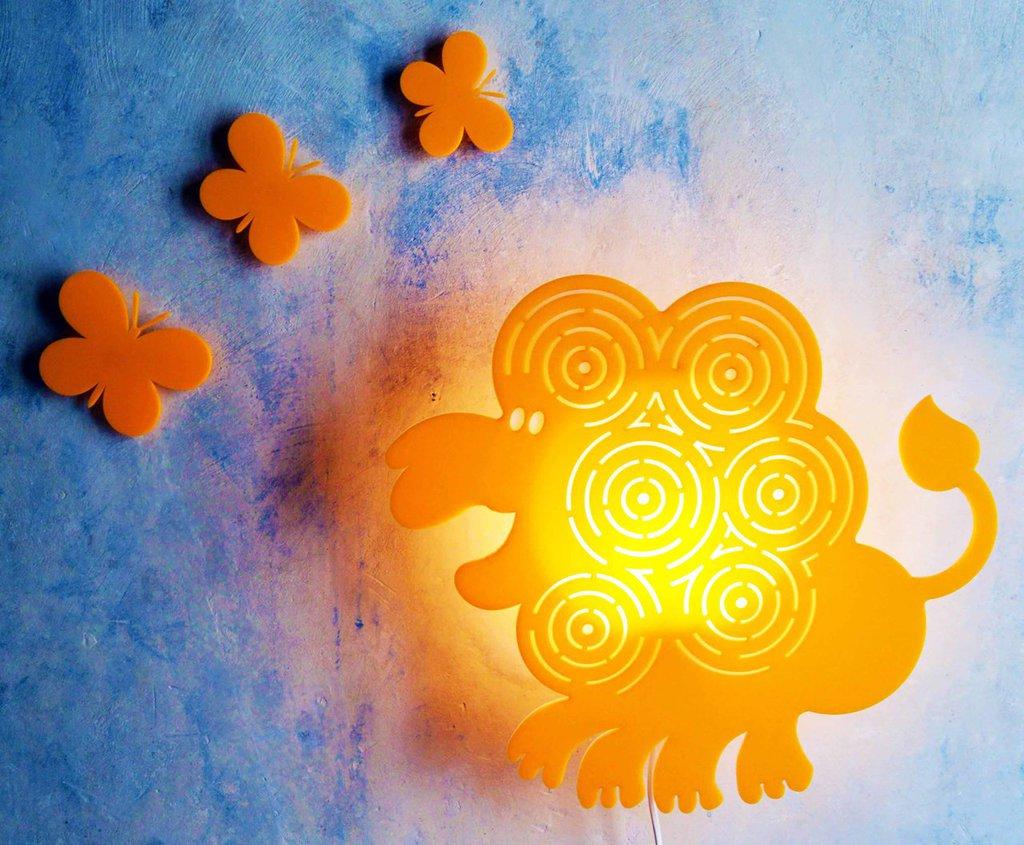 Lampada leone arancio lampada parete lampada per bambini