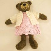 Bruna-Orsetto in lana realizzato a maglia.Imbottitura in kapok.