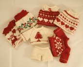 Vestiti natalizi per coniglietti/orsetti/panda in lana. Made in Italy