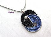 Collana doppia cialda nero azzurro  art26