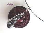 Collana  cialda bronzo e perle ematite  art23