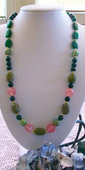 Collana con Giada, Smeraldo e Quarzo rosa sfaccettato, 60 cm