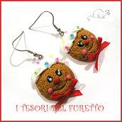 """Orecchini Natale """" Faccino pandizenzero Biscotto   """" dolcetti fimo cernit premo kawaii idea regalo bambina donna clip  ragazza"""