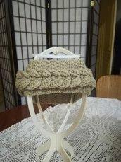 Fascia / cappello con treccia in lana