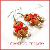 """Orecchini Natale """" Pandizenzero Gingerbread omino  """" dolcetti fimo cernit premo kawaii idea regalo bambina donna clip  ragazza"""