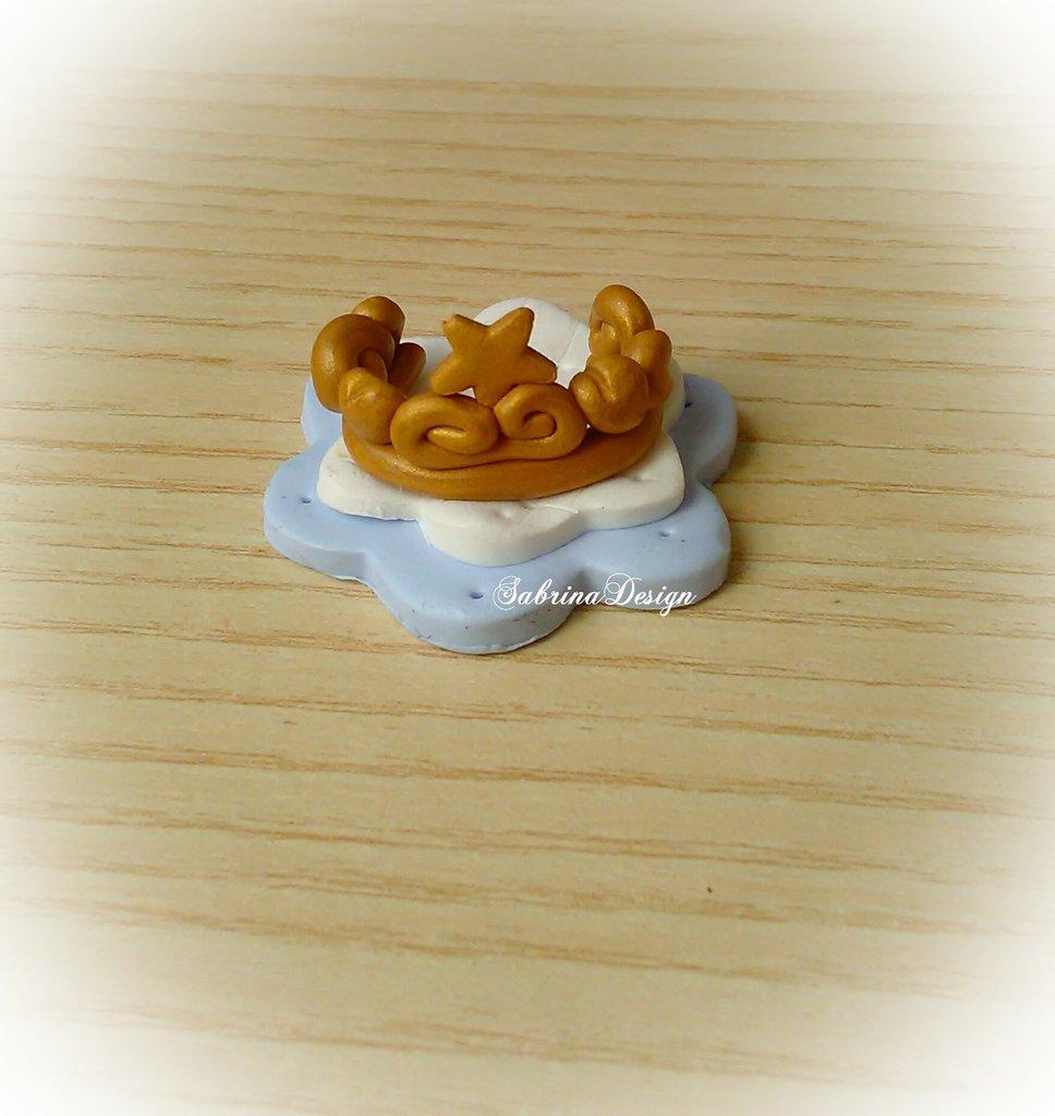 Bomboniera corona oro principe bimbo confettata nascita battesimo comunione compleanno