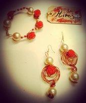 Orecchini rose rame perle