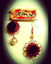 Orecchini di rame e perle