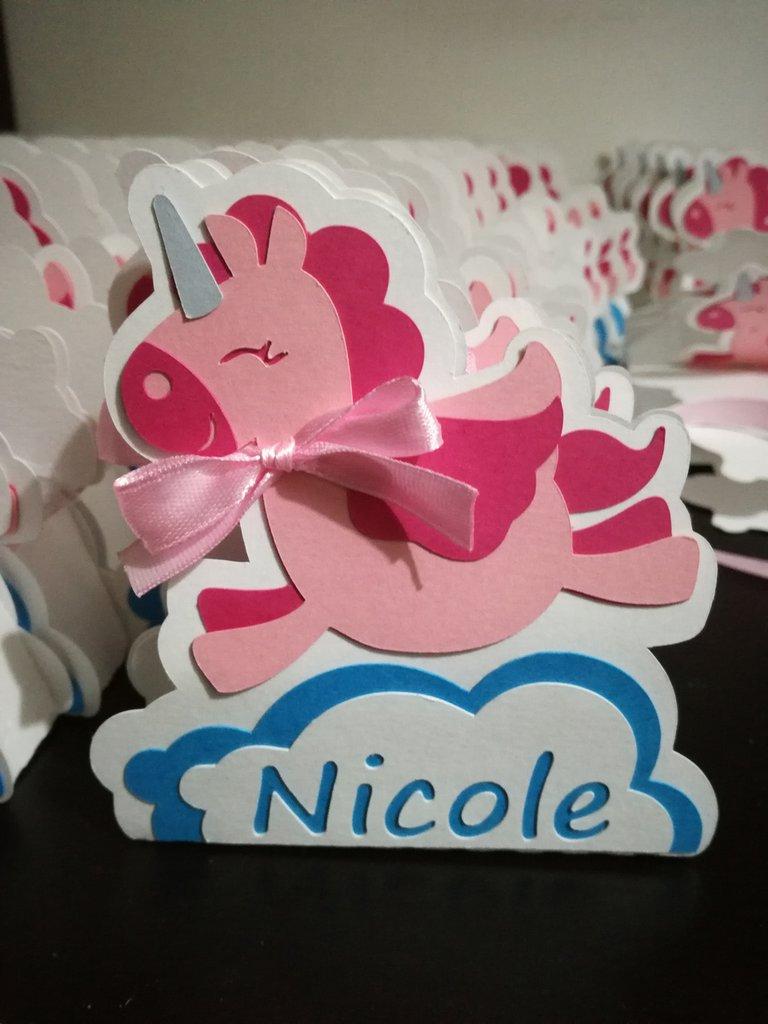 Scatolina scatoline bomboniera confetti unicorno battesimo nascita bimba nome