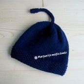 Berretto/cappello blu scuro - neonato/bambino - pura lana merino - fatto a mano