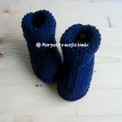 Stivaletti/scarpine blu scuro - neonato/bambino - pura lana merino - fatto a mano
