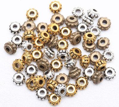 LOTTO 50 perle distanziatori in metallo (5x3mm) (cod.mix b.r.a)
