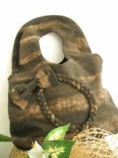 Borsa tipo borsa da donna realizzata in tessuto spesso marrone
