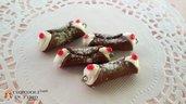 Cannolo siciliano miniatura dolce fimo charms ciondolo materiale creare bigiotteria bomboniere festività