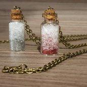 """""""Snow glitter bottles"""" - Collana lunga con ciondolo a bottiglietta"""