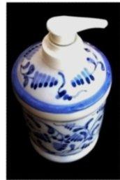 Dosatore per sapone liquido di ceramica con motivo di zaffire e foglie color blu e sue sfumature