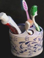 Porta spazzolini e dentifricio a 4 fori forma ovale di ceramica con motivi di zaffire blu e sue sfumature
