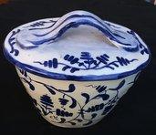 Contenitore con tappo, porta batuffoli struccanti di ceramica con motivi di zaffire blu e sue sfumature