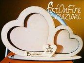 Cornice cuore in legno da appoggio con incisione personalizzata