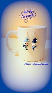 Orecchini Pupazzo di neve in fimo, argilla polimerica, handmade idee regalo Natale, orecchini natalizi