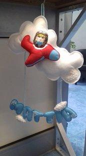 fiocco nascita bimbo/a pannolenci nuvola e aereoplano