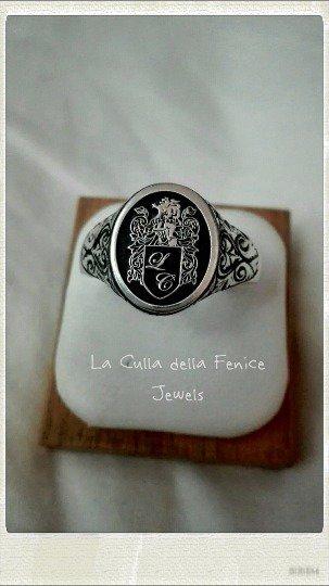 più nuovo di vendita caldo aliexpress raccolto Anello Personalizzato Chevalier Ovale da Sigillo Argento