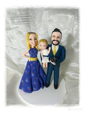 Cake toper famiglia, sposi con bimba