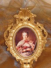Quadretto in foglio oro con immagine di Madame Pompadour