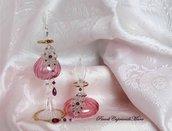 Orecchini color argento al chiacchierino, perline e cristalli color ametista