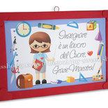 Targa targhetta regalo con il cuore per maestra